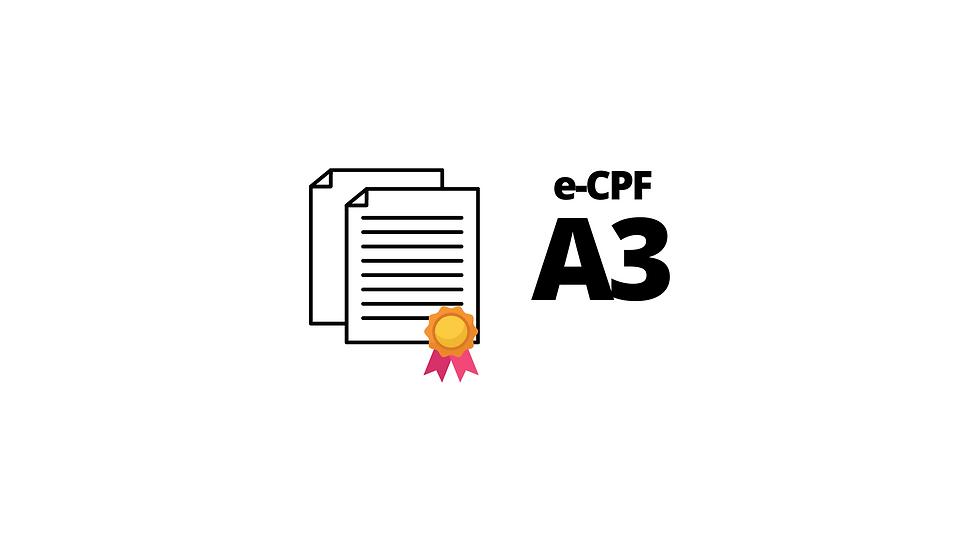 e-CPF A3 SOMENTE CERTIFICADO