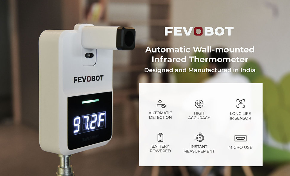An Automatic wall mounted thermometer for COVID Fever Screening. It has an accurate contactless infrared temperature sensor.