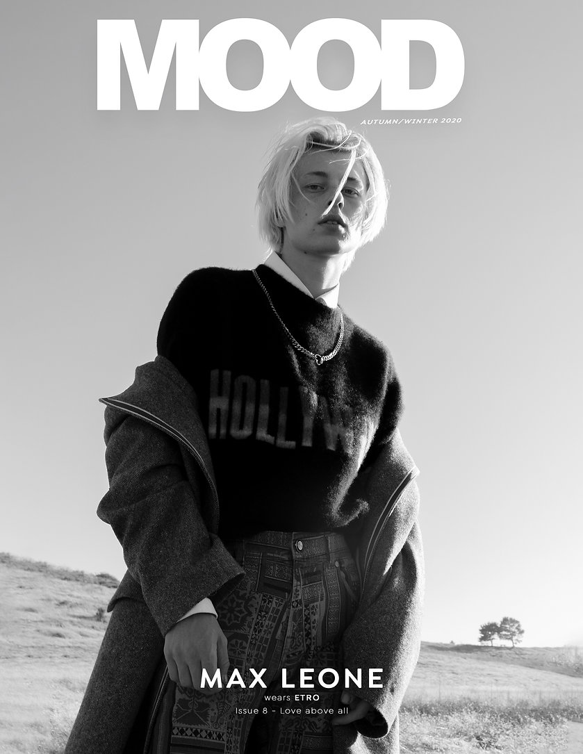 Max Leone interviewed for MOOD Magazine FW20 issue, Love Above All . Photographed by Anthony Giovanni, fashion by Edwin J Ortega.