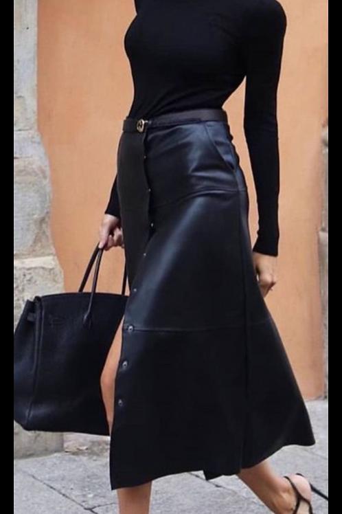 Black Faux Lether Skirt