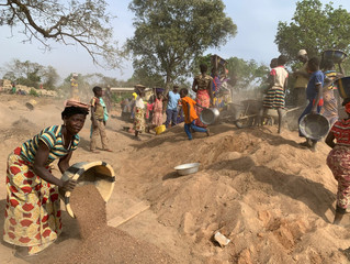 A special sand that is only found in areas near the river is used to make the concrete.  The women a