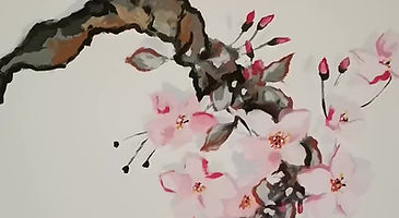 Cherry Blossom ceiling mural, Chinese Food Restaurant Halifax NS
