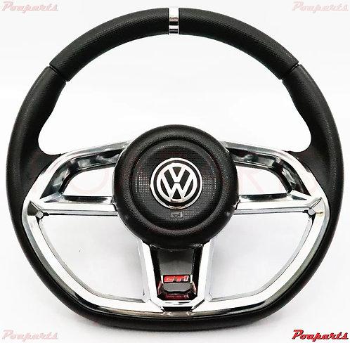 Steering Wheel VW Golf Jetta Mk2 Mk3 Mk4 Mk5 Mk6 Fox Black Mk7 Style gti CHROME
