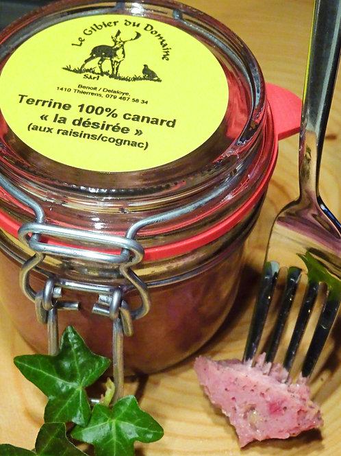 """Terrine 100 % canard """"la désirée"""" aux raisins et cognac 180 g"""