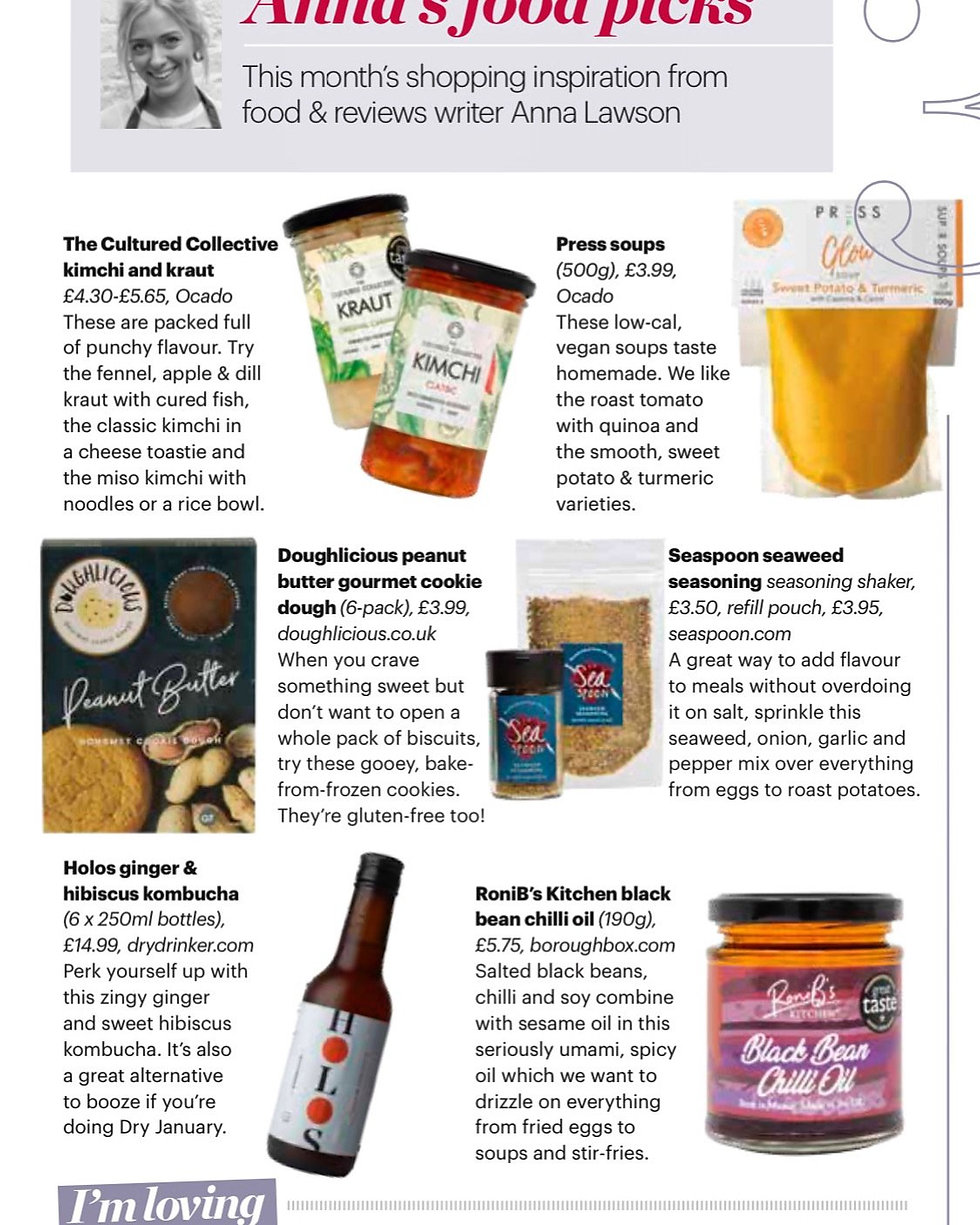 RoniB's Kitchen Great Taste 2019 Winner is featured in Anna Lawson's Food Picks for BBC Good Food Magazine January 2020