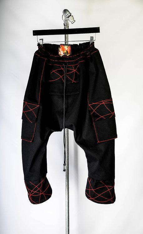 Shogun Pants, black/red