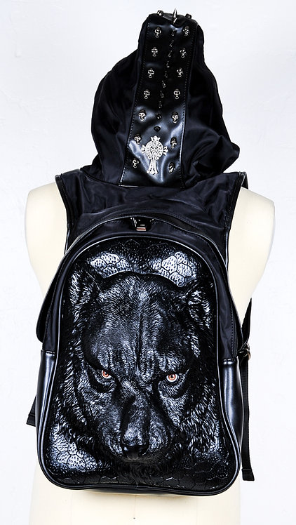 Wolf Hooded Backpack