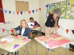 Sewing bunting for the Jubilee party