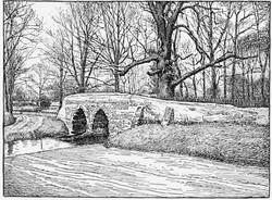 Sutton Packhorse Bridge drawing black white