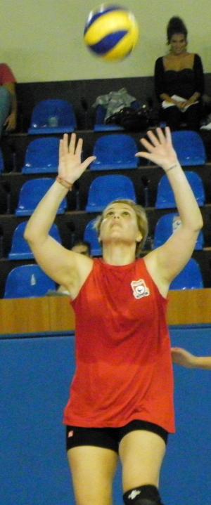 Katerina (Pink Flamingo Yoga) playing volleyball