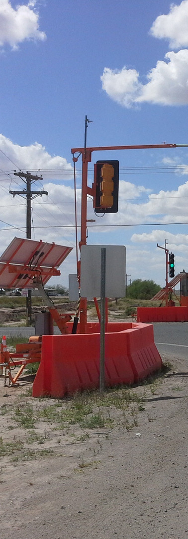 Intersection of portable traffic signals