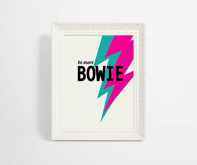 pink and teal colourful bowie art print, david bowie poster