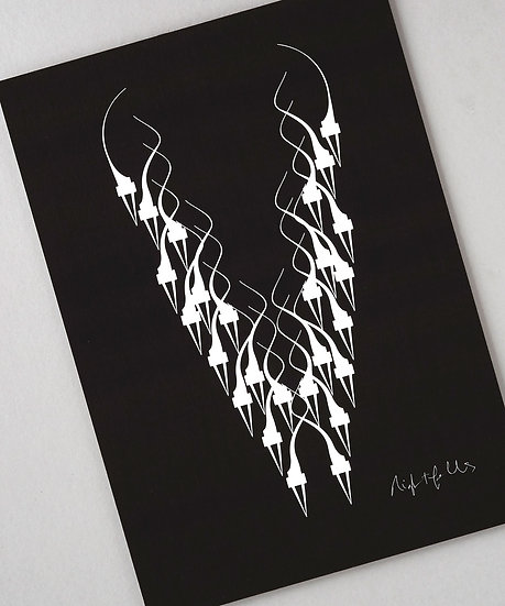 Black and white art print gothic, limited edition black and white print