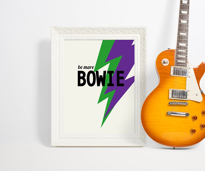 be more bowie art print, colourful david bowie poster