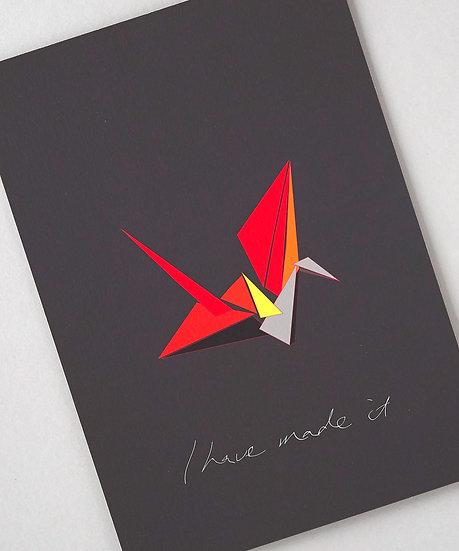 colourful origami crane art print