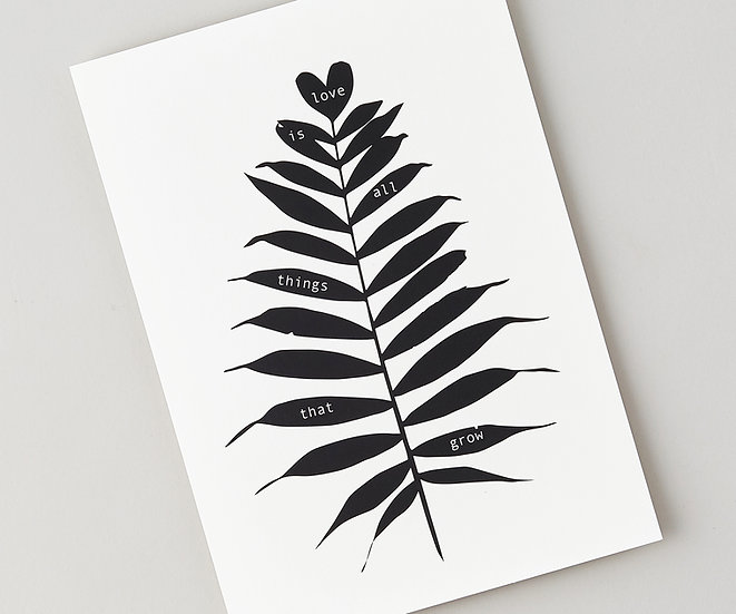 black and white fern print gift for someone special