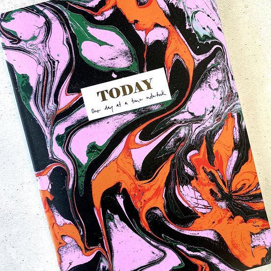 gold foiled notebooks, colourful marbled pattern, cute lined notebook, dream journal, floppy toast