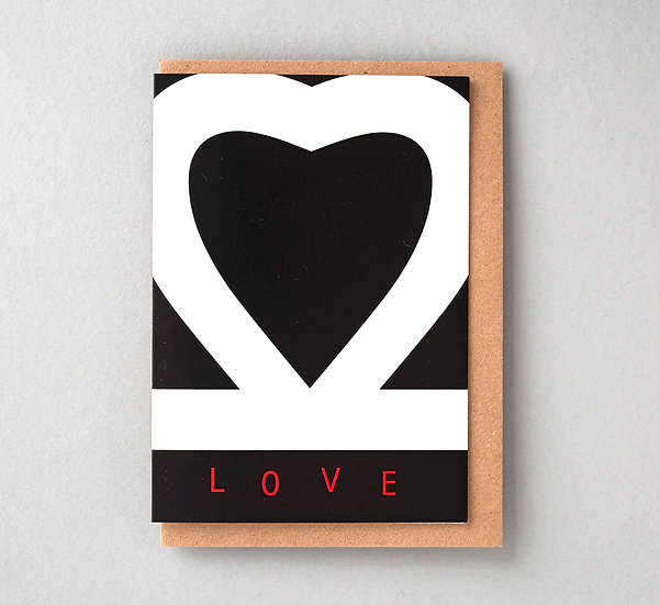 Black and white wedding love card with recycled envelope