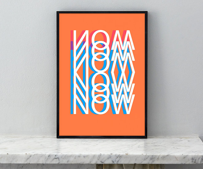orange typography art print