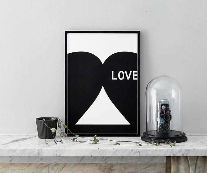 black and white love print minimalist art prints by floppy toast