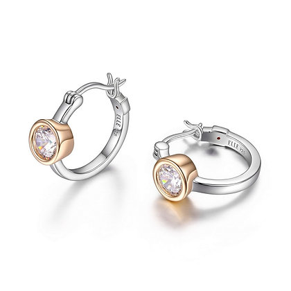 Two Tone Sterling Silver 18mm Hoop Earrings with CZ