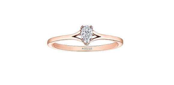 Rose Gold Pear Solitaire Canadian Diamond Engagement Ring