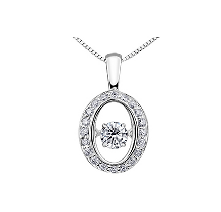 Open Oval Pendant With Pulsating Diamond