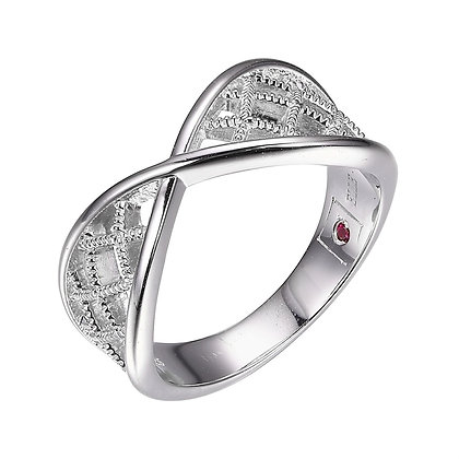 Silver Textured Criss Cross Ring