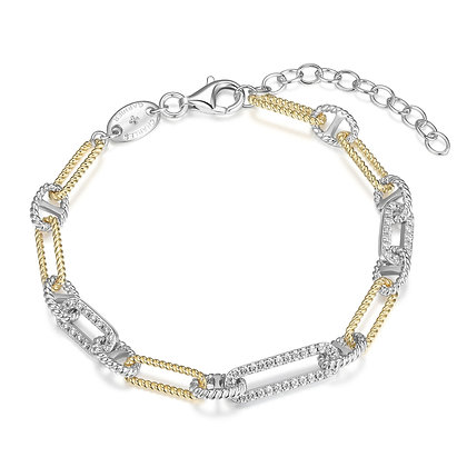 Two Tone Silver Twisted Paper Clip Bracelet