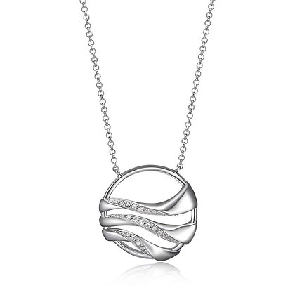 Silver Circle Wave Pendant With Cubic Zirconia