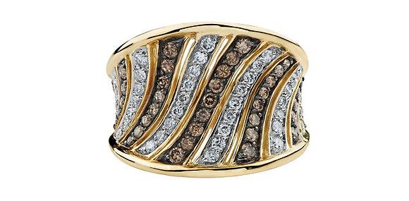 White & Brown Diamond Statement Ring