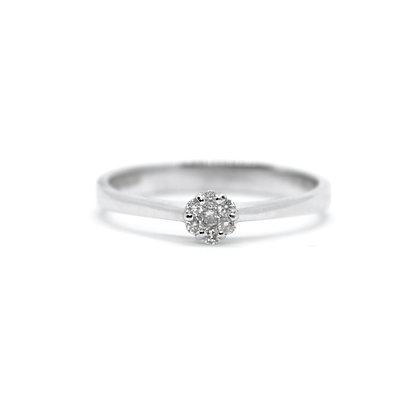 Round Diamond Ring With Halo (0.09 carat)