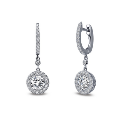 Silver Round Simulated Diamond Drop Earrings