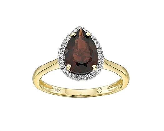 Pear Cut Garnet and Diamond Ring