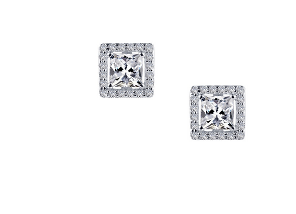 Princess Cut Simulated Diamond Studs with Halo