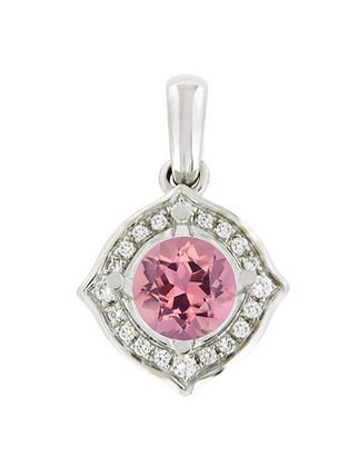 Round Pink Tourmaline & Diamond Halo Pendant