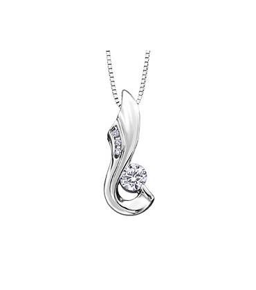 Round Canadian Diamond Ribbon Pendant