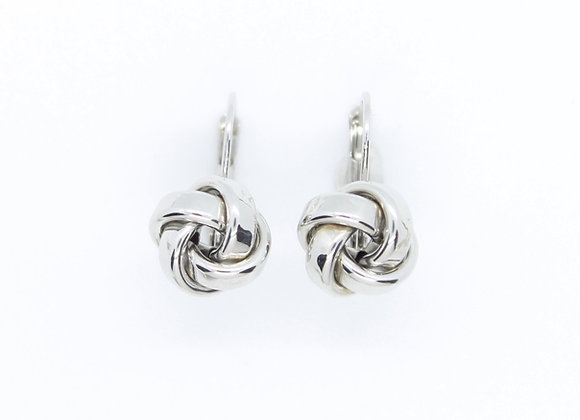 White Gold Thick Knot Earrings