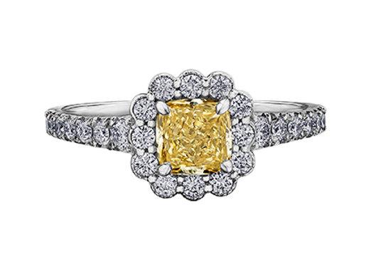 Canadian Yellow Cushion Cut Diamond Halo Engagement Ring