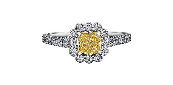 Canadian Cushion Cut Yellow Diamond Halo Engagement Ring