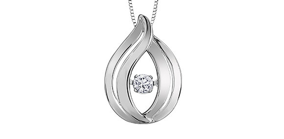 Silver Tear Drop Pendant with Canadian Diamond