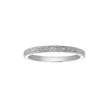 White Gold Textured Stackable Ring With Diamonds