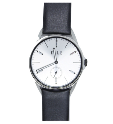 ELLE Black Leather & Silver Dial Watch
