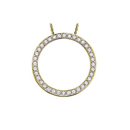 Yellow Gold Diamond Circle Pendant