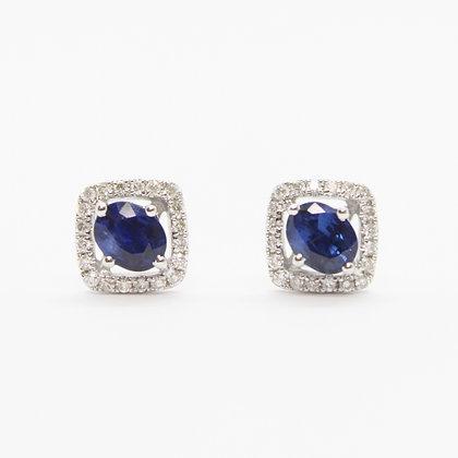 Oval Sapphire Earrings With Cushion Diamond Halo