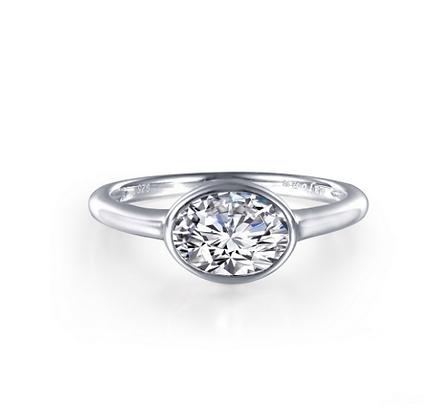 Bezel Set Oval Simulated Diamond Ring