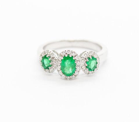 Oval Cut Emerald Trinity Ring With Diamond Halo