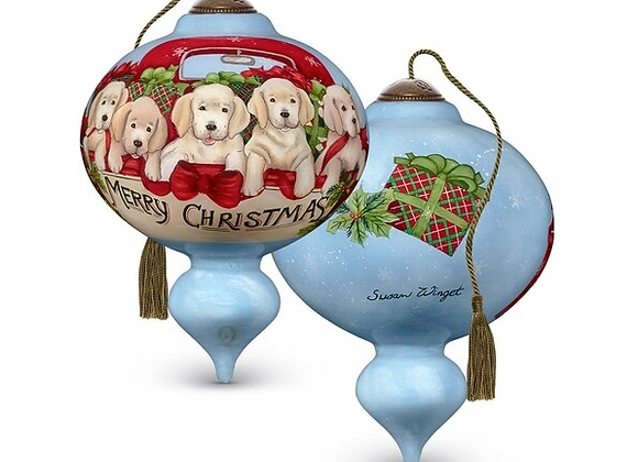 """""""Puppies Galore"""" Merry Christmas Ornament"""
