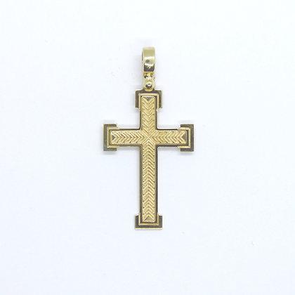 Yellow Gold Square Cross Pendant (22mm)