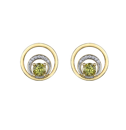 Yellow Gold Circle Earrings With Round Peridot